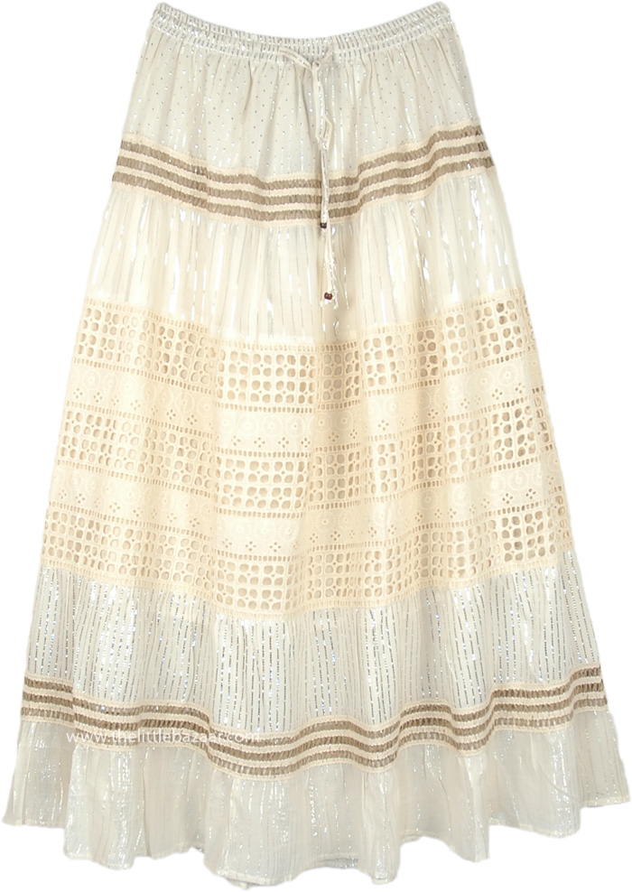 Off White Shimmer Skirt with Eyelet and Tinsel Accents