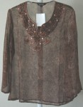 Bohemian Sheer Tunic in Brown with Embroidery