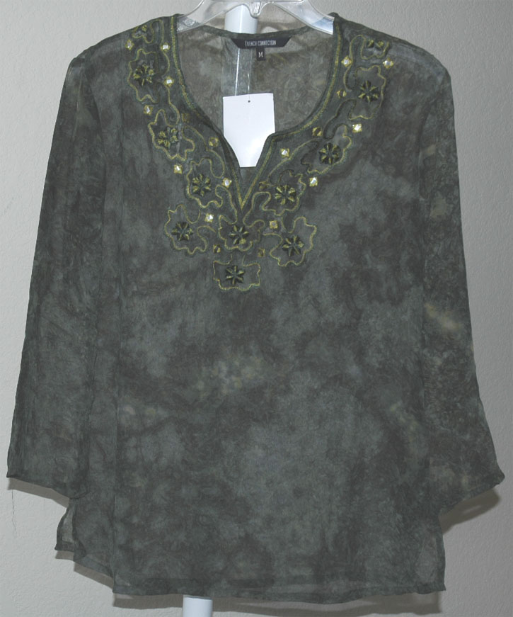 Bohemian Sheer Tunic in Olive Green with Embroidery