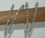 4 Bracelet Bangles in Silver with Crystals
