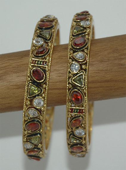 Ethnic Indian Kundan Kada Bracelet Pair