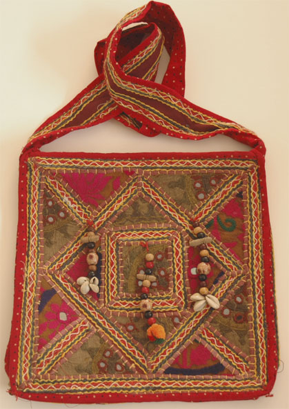 Bohemian Hand Embroidered Shoulder Bag with Mirrors