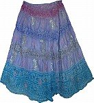 Tie Dye Silk Skirt with Sequins