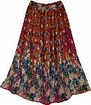 Cognac Floral Skirt
