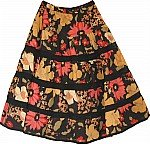 Black Floral Cotton Skirt