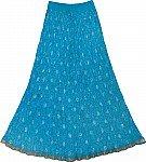 Bohemian Crinkle Skirt in Eastern Blue