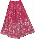Hibiscus Sequin Skirt with Floral Motifs