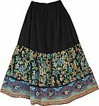 Black Cotton Bold Floral Skirt