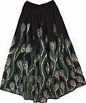 Black Long Skirt  Peacock Batik