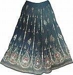 Black Sequin Long Skirt