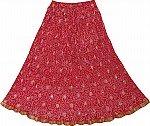 Crimson Red  Ethnic Skirt