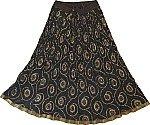 Chakra Ethnic Skirt in Black