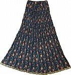 Navy Floral Summer Crinkle Skirt