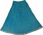 Blue Ethnic Short Skirt