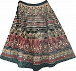 Ethnic Printed Long Indian Cotton Skirt with Sequins