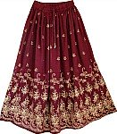 Wine Berry Golden Block Long Skirt