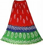 Batik Cotton Red Womens Skirt