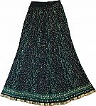 Black Long Skirt in Cotton Crinkle