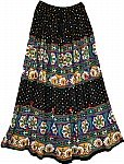 Gypsy Black Long Skirt with Mirrors
