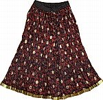 Black Red Ethnic Skirt