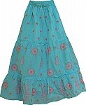 Hippie Blue Cotton Floral Skirt
