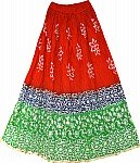Batik Print  Cotton Red Skirt