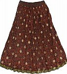 Chocolate Red Ethnic Skirt
