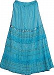 Fountain Blue Sequin Long Skirt