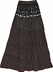 Black Sequin Long Skirt