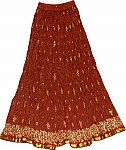 Burnt Umber Long Skirt in Crinkle