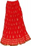 Torch Red Long Skirt in Cotton Crinkle