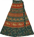 Block Print Designer Long Wrap Skirt