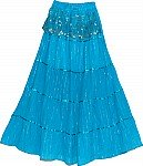 Bondi Blue Sequin Long Skirt