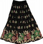 Floral Sequin Long Skirt