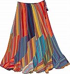 Spiral Cut Fiesta Flowy Rainbow Cotton long Skirt