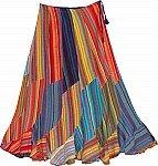 Spiral Cut Fiesta Flowy Rainbow Cotton long Skirt