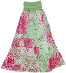 Smocking Chiffon Floral Long Dress Skirt
