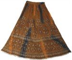 Arabian Princess Brown Golden Ethnic Long Skirt