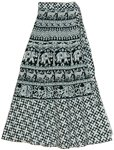 Patterns Animal Print Long Wrap Skirt in Black White