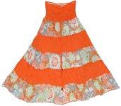 Orange Striped Summer Long Skirt Dress