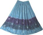 Boho Chic Tie Dye Skirt Blue