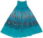 Bondi Blue Smock Boho Skirt