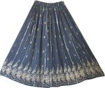 Fashion Evening Navy  Golden Sexy Long Skirt