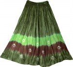 Boho Chic Tie Dye Indian Long Skirt Green