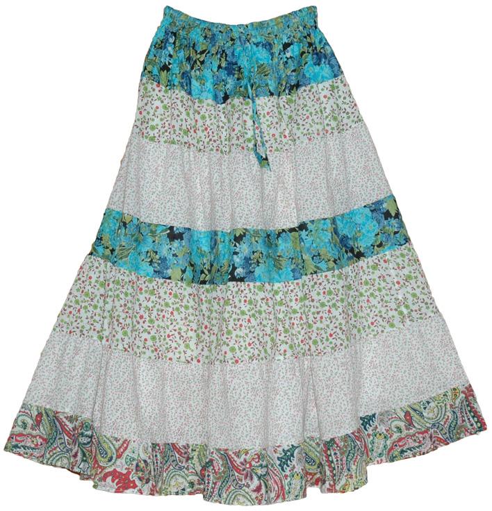 Serene Flowers Summer Cotton Long Skirt | Clothing