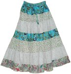 Serene Flowers Summer Cotton Long Skirt