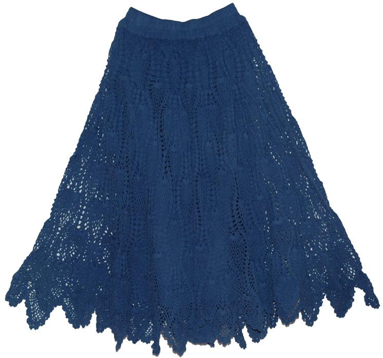 Stylish Crochet Cotton Long Skirt Navy | Clothing | Crochet-Clothing