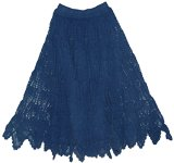 Stylish Crochet Cotton Long Skirt Navy