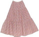 Pink Daisy Flower Long Skirt