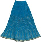 Crinkle Long Summer Skirt in Blue with Golden Print